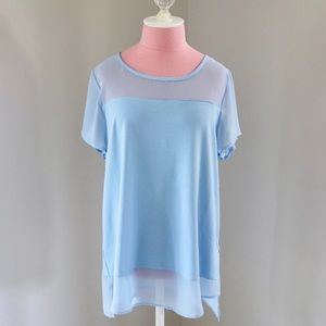 Vince Camuto Short Sleeve Blouse w/ Sheer Insets